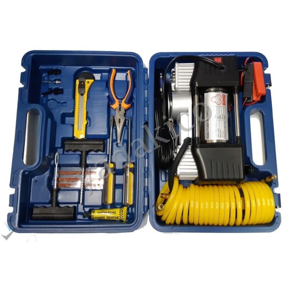 پمپ باد فلزی دو سیلندر همراه با کیف ابزار و لوازم پنچرگیری
